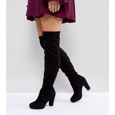 New Look Wide Fit Heeled Suedette Over The Knee Boot ($72) ❤ liked on Polyvore featuring shoes, boots, black, black motorcycle boots, thigh high boots, black high heel boots, over-knee boots and black boots