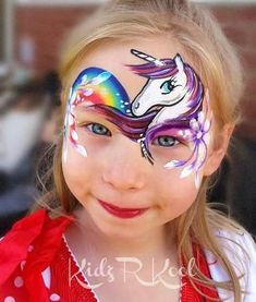 She is so adorable! #onthejob #kidzrkoolpartyentertainment #faceart #facepaint #adelaide #radelaide #southaustralia #kidzrkool #onestroke #unicorn #rainbow #adelaidefacepainter