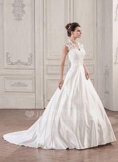 [Kr 1 853] Balklänning V-ringning Court släp Satäng Spetsar Bröllopsklänning med Rufsar