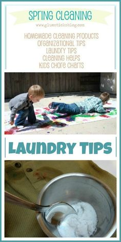 Laundry tips to get out even the most stubborn of stains as part of a Spring Cleaning event including cleaning helps, organizational tips and more!