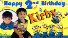 Tarpaulin layout  size: 2x3.5 (c) Kirby Bday For Inquiries please email me at salanapmark@gmail.com Happy 1st Birthdays, Happy Birthday, Birthday Tarpaulin Design, Christian World, House Front Design, Bulletin Boards, Christening, Layout Design, Minions