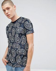 ASOS T-Shirt In Paisley Velour - Black
