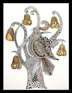 Partridge in a Pear Tree Tangle by: Terri Morse. Just the right touches of color make this really come alive.