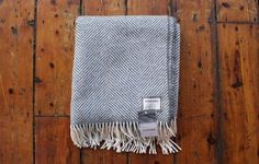 Foxford grey herringbone throw www.waringsathome.co.uk
