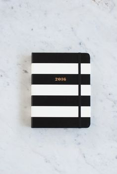 Elegant and lovely. Kate Spade 2016 diary - Black Stripes at NoteMaker.com.au