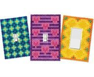 Switch Plate Covers Designed By The Perler Design Team Make fun switch plate covers for your room out of Perler Beads! Choose from these three designs, or use the patterns and choose your favorite colors to match your room. A helpful way to remember to turn out the lights when not in use!  :-)
