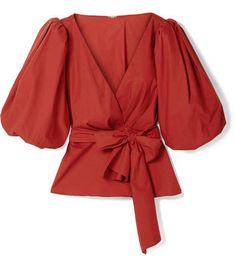 Red cotton-blend poplin Ties at front cotton, elastane Machine wash Designer color: Ruby Fiesta Imported Jennifer Fisher, Wrap Blouse, Ulla Johnson, Red Blouses, Poplin, New Look, Feminine, Skinny Jeans, Romantic