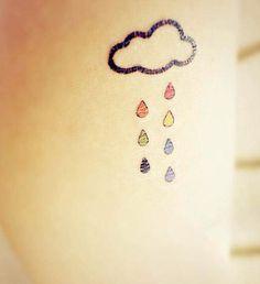 Colored rain cloud temporary tattoo - From InknArt.etsy.com - USD3.99