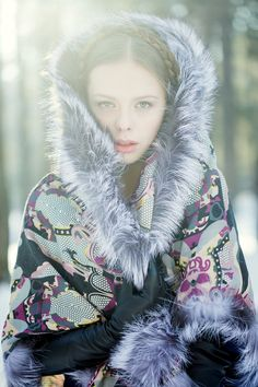 Russian beauty. Russian girls. Winter fashion. Tradition floral pattern and fur. Russian style by Anna Bakhareva