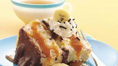 Banana-Chocolate-Caramel Cake - round angel cake, chocolate pudding cups, bananas, caramel topping  aerosol whipped cream FAST