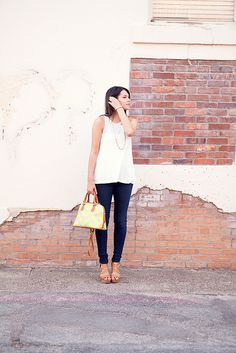 simple white tank, simple necklace...love it    7.6.12b by kendilea, via Flickr