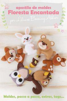 woodland animals made with felt. Felt Diy, Felt Crafts, Diy And Crafts, Felt Christmas Ornaments, Christmas Crafts, Diy For Kids, Crafts For Kids, Felt Finger Puppets, Deco Kids