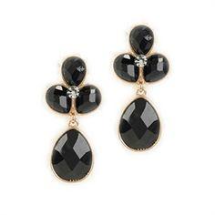 Natasha Stone Cluster Teardrop Earrings #VonMaur #Natasha #Stone #Black #Gold