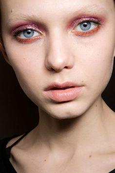 Emanuel Ungaro makeup look. Sparkly pink and red eyeshadow