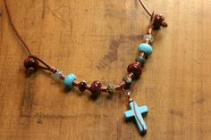Agate and Turquoise Beaded Necklace with by AllowingArtDesigns, $32.00