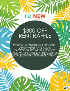 You could get $300 off September's rent! All you have to do is write us a review online and you'll be entered. It's as easy as that!  #ReNew3030 #IAmRenewed #RentRaffle #Review Writing, How To Plan, Easy, A Letter, Writing Process