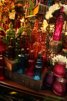 pretty brightly colored glass decorative (only) bottles