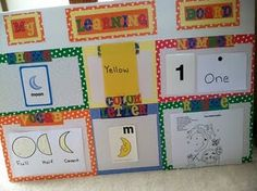 Toddler Learning Board- I pinned this because I liked the lay out and I can put it away when we're done. Then I noticed it had lesson plans! This is so simple to do! Toddler School, Tot School, Toddler Fun, Toddler Learning, Early Learning, Toddler Crafts, Moon Activities, Infant Activities, Learning Activities