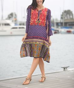 Take a look at this Ananda's Collection Blue & Red Patchwork Dress - Plus Too today!