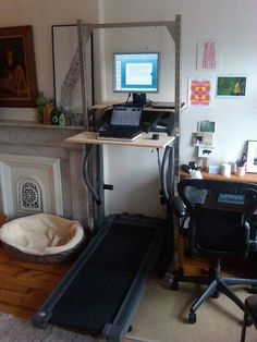 Treadmill Desk- Now there's a use for our treadmill!