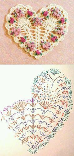 Meu Mundo Craft: Coração vintage em croche