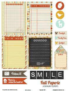 fall, journaling elements, cards, preview