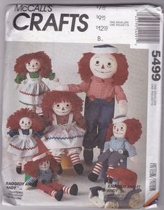 McCalls Crafts Raggedy Ann & Andy Pattern Dolls and Clothes 5499 Uncut FF 1991