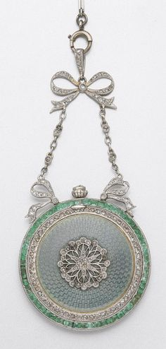 Platinum, Enamel, Emerald and Diamond Pendant-Watch Circa 1905 Antique Watches, Antique Clocks, Vintage Watches, Edwardian Jewelry, Antique Jewelry, Vintage Jewelry, Bijoux Art Nouveau, Jewelry Accessories, Jewelry Design