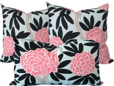 Designer Decorative Pillow Cover-Pink and Navy by KLineDeco