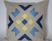 "Linen eco felt yellow, brown, turquoise pillow cover. Handmade decorative pillow throw zipper contemporary ethnic geometric 40x40 cm 16""x16"". €25.00, via Etsy."