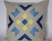 "Linen eco felt yellow, brown, turquoise pillow cover. Handmade decorative pillow throw zipper contemporary ethnic geometric 40x40 cm 16""x16"". €25.00, via Etsy."