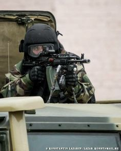 Russian Spetsnaz member from the 604th Red Banner Special  Purpose Center of the Interior Ministry armed with his AK-74M assault rifle.