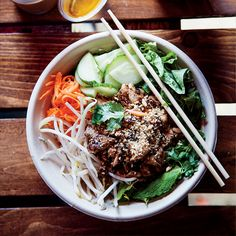 Lemongrass Pork and Rice Noodle Bowl | Food & Wine - to make this on a weeknight, prep on a Sunday, otherwise too labor intensive.