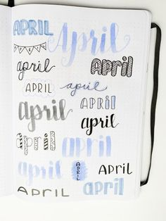 April header ideas for bullet journals. Use these super easy monthly bullet journal headers for every month of the year! Find inspiration for your next monthly spread with pretty monthly headers. April Bullet Journal, Bullet Journal Writing, Bullet Journal Headers, Bullet Journal Banner, Bullet Journal School, Bullet Journal Aesthetic, Bullet Journal Layout, Bullet Journal Inspiration, Bullet Journals