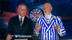 Don Cherry showing he supports the blue side of Sheffield. A little side note - I have the same tie as Ron McLean!