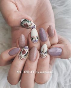 short boho nail art ideas coffin nail art designsalmond nail art design acrylic nail art nail designs with glitter painted nails boho nail art designs boho nail art ideas hippie nails summer nails boho short nail ideas festival nails Cute Nails, Pretty Nails, My Nails, Purple Nail, Ombre Nail, Almond Nail Art, Manicure E Pedicure, Manicure Ideas, Nail Art Ideas
