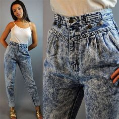 HIGH waist jeans ACID wash jeans Vintage Denim Harem Jeans w/ pleated front skinny taper leg xs / s extra small / small Casual Chic Outfits, Fashion Outfits, Teen Fashion, Harem Jeans, Acid Wash Jeans Outfit, Denim Pants, Z Cavaricci Jeans, 1980s Fashion Trends, 80s Jeans