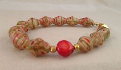 Red glass bracelet Murano glass bead bracelet red por MFGCollection