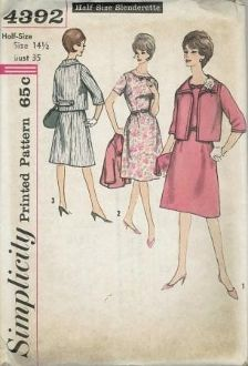 An unused original ca. 1962 Simplicity Pattern 4392.  Dress has set-in sleeves and zipper at back neck and one at left side.  Skirt has gathers at front waistline.  Belt is self or purchased.  Lined jacket has below elbow length set-in sleeves.  Back features button trimmed belt.  V. 1 and 2 have top-stitching; V. 3, braid.