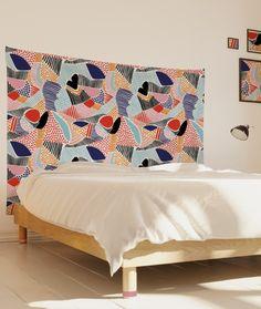 Tête de lit en tissu colorée - Zou' - Myriame El Jorfi - myQuintus Decoration, Interiors, Curtains, Shower, Bedroom, Chalets, Wall Fabric, Decor, Rain Shower Heads