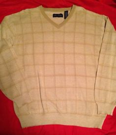 Mens Alan Flusser Beige V Neck Sweater Size L Large Linen Golf Check Sweater $17.99 #alanflusser #linen #golfsweater