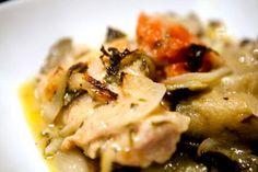 sporkme: Tarragon Chicken with Eggplant and Mushroom Dinner...
