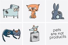 """""""Pets are not Products"""" Holiday Campaign for Paws for Hope. Kitten, puppy and bunny illustration, as well as hand type by Alicia Carvalho 