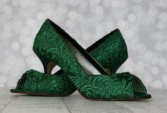 Wedding Shoes  Hunter Green Peep Toe Wedges by DesignYourPedestal, $395.00
