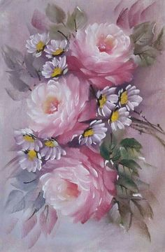 Fabric Painting Tutorial: In this particular tutorial we'll explain to you how to use Country Chic P Oil Painting Flowers, China Painting, Tole Painting, Fabric Painting, Watercolor Flowers, Paper Napkins For Decoupage, Decoupage Vintage, Arte Floral, Vintage Flowers