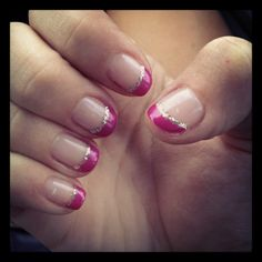 Pink French tips with silver lining-I'll need pretty nails in the hospital