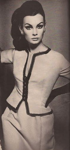 The beautiful Jean Shrimpton. Not sure who she is, but I love the hair, the eyes, the clothes.  :~)