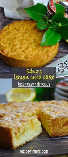 Edna's lemon curd cake, for those of us that love lemon this is the cake. Made in the food processor this cake couldn't get much easier. Pressed into the tin, topped with delicious lemon curd and dollops of batter and into the oven you go. #lemoncakerecipe #bestlemoncurd #bestlemoncake #recipewinners.com
