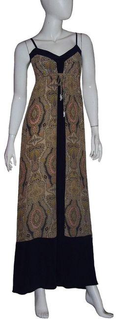 Gypsy 05 Maxi Dress NWT Sz Small Ivory Multicolor 100% Silk V-neck Slip-on Lined #Gypsy05 #Maxi