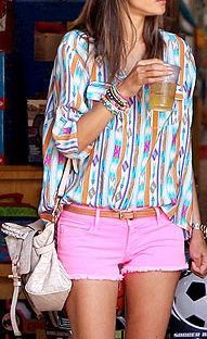 pink shorts + colorful blouse.   Have some fun with your outfits by going bold with color every once in a while.  It will add some joy to your life and those around you.